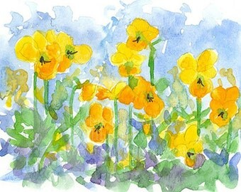 Yellow Pansy Flowers Original Watercolor Painting