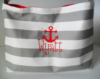 Stripe Diaper Bag - Diaper Bag - Hobo - Messenger Bag - Cross Body -  Diaper Bag - Beach Bag - Gray Stripe - Monogrammed - Nautical
