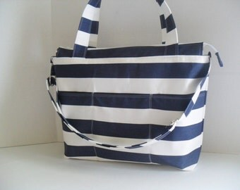 stripe Diaper Bag - Navy Blue and White Stripe - Nautical Diaper Bag - Diaper Bag - Stripe Bag - Messenger - Laptop Bag