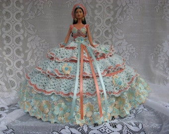 OOAK Aqua and Apricot Hand Crocheted  and Imported Lace Barbie Bed Pillow Doll