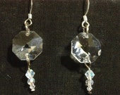 Faceted glass crystal drop earrings on sterling earwires