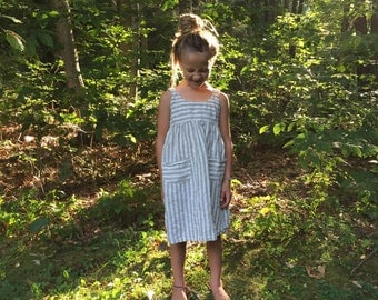 Simple Everyday Linen Dress for Girls - sewn to order
