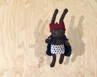Recycled Cashmere Stuffed Bunny Rabbit; one of a kind