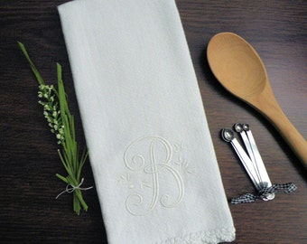 Monogrammed Dish Towel, Monogrammed Kitchen Towel White Crocheted Edge Towel