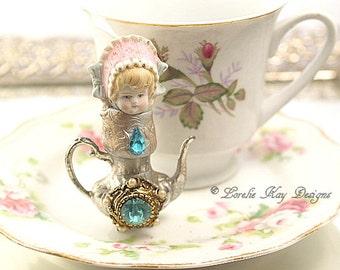 Talia Teapot Art Doll  Original Art Doll Assemblage Tiny Teapot Mixed Media Doll Sculpture