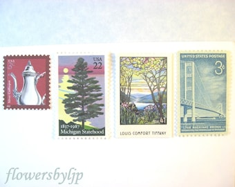 Michigan Wedding Postage Stamps, Tree by Lake, Mackinac Bridge, Tiffany Window, Mail 20 Invitations 2 oz 68 cent postage stamps nature water