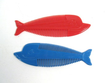 Vintage hair comb, whale comb, fish comb, childrens hair comb
