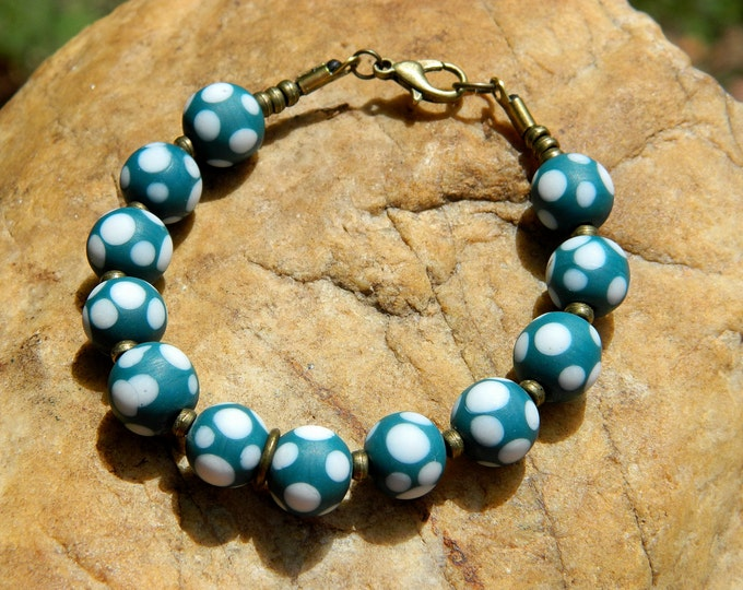 Featured listing image: Teal and White Polka Dot Indonesian Glass Bead Bracelet