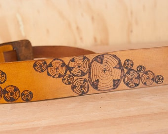 Leather Ukulele Strap - Kids Guitar Strap - Mandolin Strap - Handmade in the Faux Bois pattern with Wood Rounds
