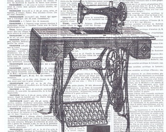 Vintage Sewing Machine.Real Antique Book Page Print.gift.home decor.office.seamstress.needle,thread.french.mom.crafter.tailor.dress.genuine