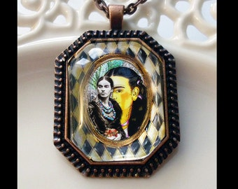 Frida Kahlo, In The Studio,  original art pendants, gift boxed, Ready To Ship TODAY,   Frida Kahlo pendants