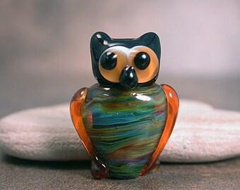 Lampwork Glass Petite Owl Amber Greens Blue Black Owl Totoem Bead Divine Spark Designs SRA