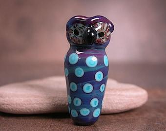Lampwork Glass Owl Focal Bead Purples Blues Animal Totem Divine Spark Designs SRA