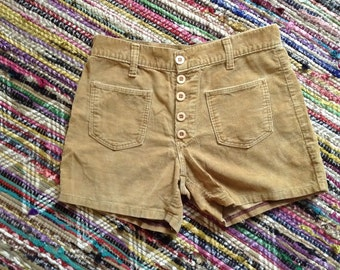 Vintage 70s tan corduroy shorts ~ high waisted ~ button front ~ bohemian ~ rocker