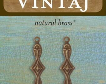 4 Infinity Diamond 29x7mm, Vintaj Natural Brass (2 pcs/pkg) (C2H100)