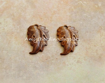 SALE:  2 Vintaj Artisan COPPER Prairie Leaf Charms 18x3mm (CDP0006)