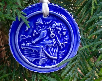Santa Sneaking Down the Chimney Ornament Cobalt Blue