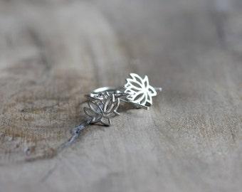 Tiny silver lotus flower earrings - petite dangle earrings in sterling silver