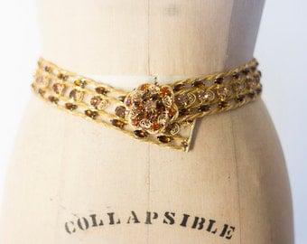 1960's Rare D&E Juliana Aurora Borealis Rhinestone Vintage Stunning Gold Hearts Belt