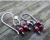 20% OFF Mothers Day Sale Garnet Trio Dangle Earrings garnet earrings
