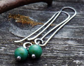 Blue green turquoise sterling silver long dangle earrings