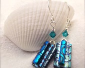 Fused Dichroic earrings, dichroic glass, fused dichroic earrings, hana sakura, Unusual jewelry, handmade gifts, aqua blue jewelry, dichroic