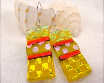 Statement earrings, dichroic glass earrings,dichroic jewelry,handmade,birthday gift,freshly picked,big earrings,yellow jewelry,gifts for her
