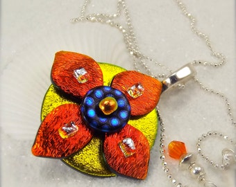 Daisy flower jewelry, dichroic glass pendant, fused glass necklace, mod design jewelry, ruby red necklace, glass fusion, statement piece