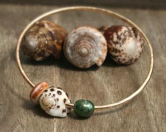 Gold Bangle Bracelet, Hammered Bangle, Beach Bangle Bracelet, Shell Bangle, Hawaii Bangle Bracelet, Pearl Bangle, Mermaid Jewelry, Beachy
