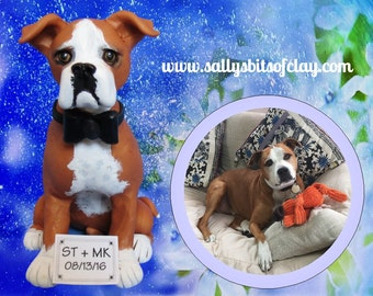 Custom Pet Dog Cat Wedding Cake Topper  with ONE figure OOAK Handsculpted by Sally's Bits of Clay