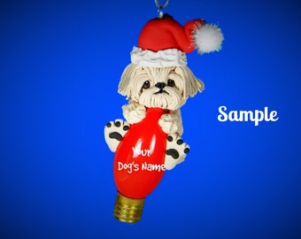 Light Cream Colored Shih Tzu Santa Dog Christmas Holidays Light Bulb Ornament Sally's Bits of Clay OOAK PERSONALIZED FREE with dog's name
