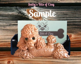 Chocolate Poodle Dog Business Card Holder / Iphone / Cell phone / Post it Notes OOAK sculpture by Sally's Bits of Clay
