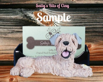 Soft Coated Wheaten Terrier dog Business Card / Iphone / Cell phone / Post it notes / HOLDER OOAK sculpture by Sally's Bits of Clay