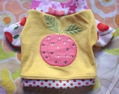 peach pup COURTNEYCOURTNEY small dog rhinestone S citrus fruit upcycled interlock cotton knit outfit top