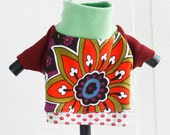 groovy COURTNEYCOURTNEY green cute xs extra small puppy upcycled jersey knit outfit top dots print flower