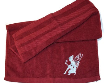 Angel Silhouette Hand Towel Embroidered Maroon with Silver Angel - Ready to Ship