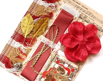 Vintage Valentine and Scrapbook Kit - Prim Red and Gold Inspiration