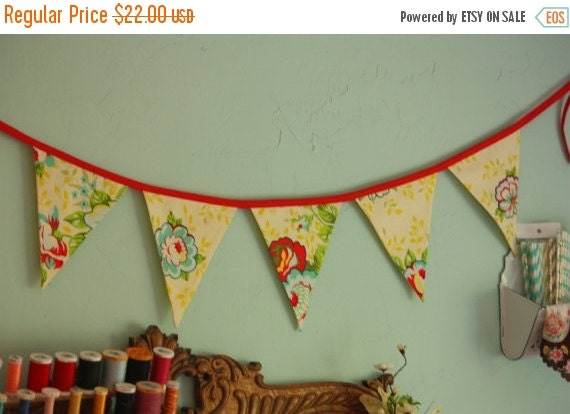 30 PERCENT OFF Floral Fabric Bunting, Flag Prop Decoration in Yellow and Red, Prop, Pennants.  Ready To Ship.