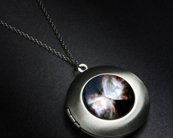 Nebula Galaxy Locket - Black and White - Outer Space Butterfly Nebula Necklace - Silver or Bronze - Nerd Jewelry, Astronomy, Space Wedding