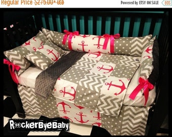 SUMMER SALE Deluxe design CUSTOM punk baby 4 piece Mixed Prints Candy Pink Chevron Anchor crib bedding set fabric skull and crossbones girl