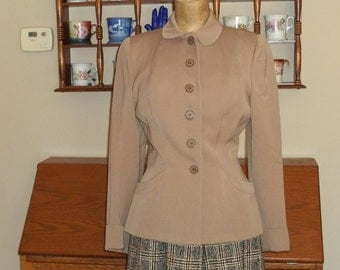 REAL GABARDINE Jacket 100% WOOL, Hourglass waist Vintage 1940's Minimalist Ecru  Suit Jacket,Great condition, size Small
