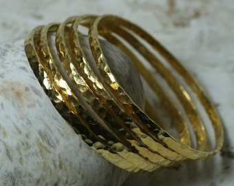 Stacking Bangle Bracelets, Gold Plated Bangles, Hammered Bangles, Textured Bangles, one piece (item ID GPBW62N)