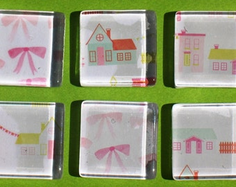Little Pink Houses - Glass Magnet Set