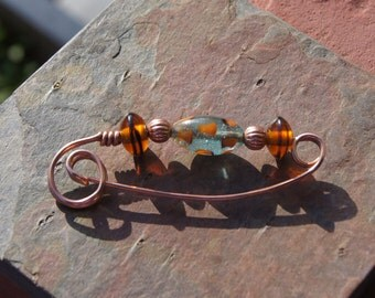 Sweater Clip, Shawl Pin -- Fibula Brooch or Scarf Pin -- Copper with Blue and Orange Lampwork Glass Beads