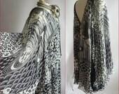 Very Mod Optic Butterfly Dress / size 8 10 12 / FLOATY Silk Chiffon 1960s JAPAN / Black White Op Art Print Medium