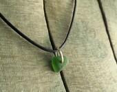 Green Seaglass Pendant Sterling Silver Jump Ring Lake Erie Beach Glass Charm
