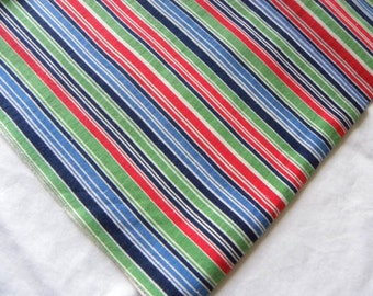 Vintage Red Blue Green Striped Sugar or Flour Sack Feedsack Cotton Fabric Small Bag 32 x 33