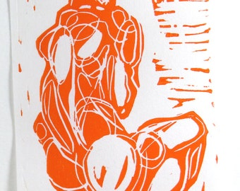 male figure, linocut, 4x6, Serenity, orange on white hosho paper
