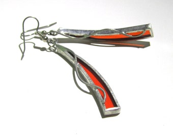 Tangerine Stretch - Stained Glass Earrings - Long Orange Womens Accessories Lightweight Jewelry Nickel-Free Hooks (READY TO SHIP)
