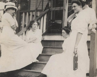 vintage photo 1910 Women Relaxing Together on Front Porch w Camera & Poodle Dog